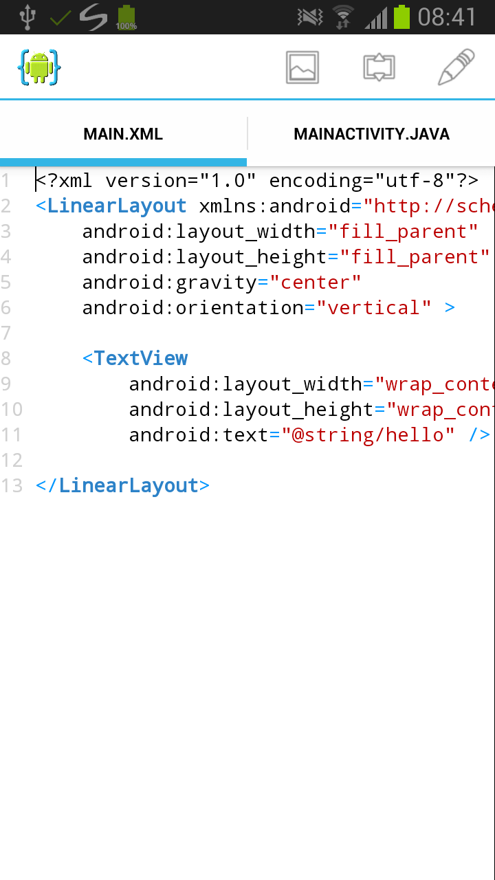 Android tutorial aide android ide creating the app project baditri Image collections