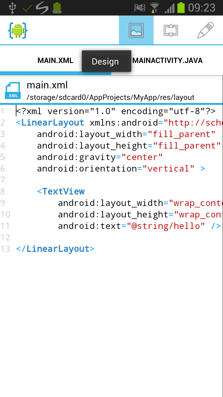 Android ui tutorial aide android ide if you have the android ui designer app installed you can visually edit user interfaces without the need to manually modify xml baditri Image collections