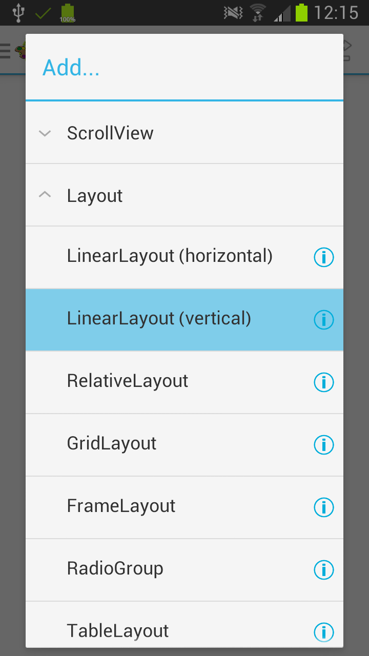 edit the layout - Android Ui Maker