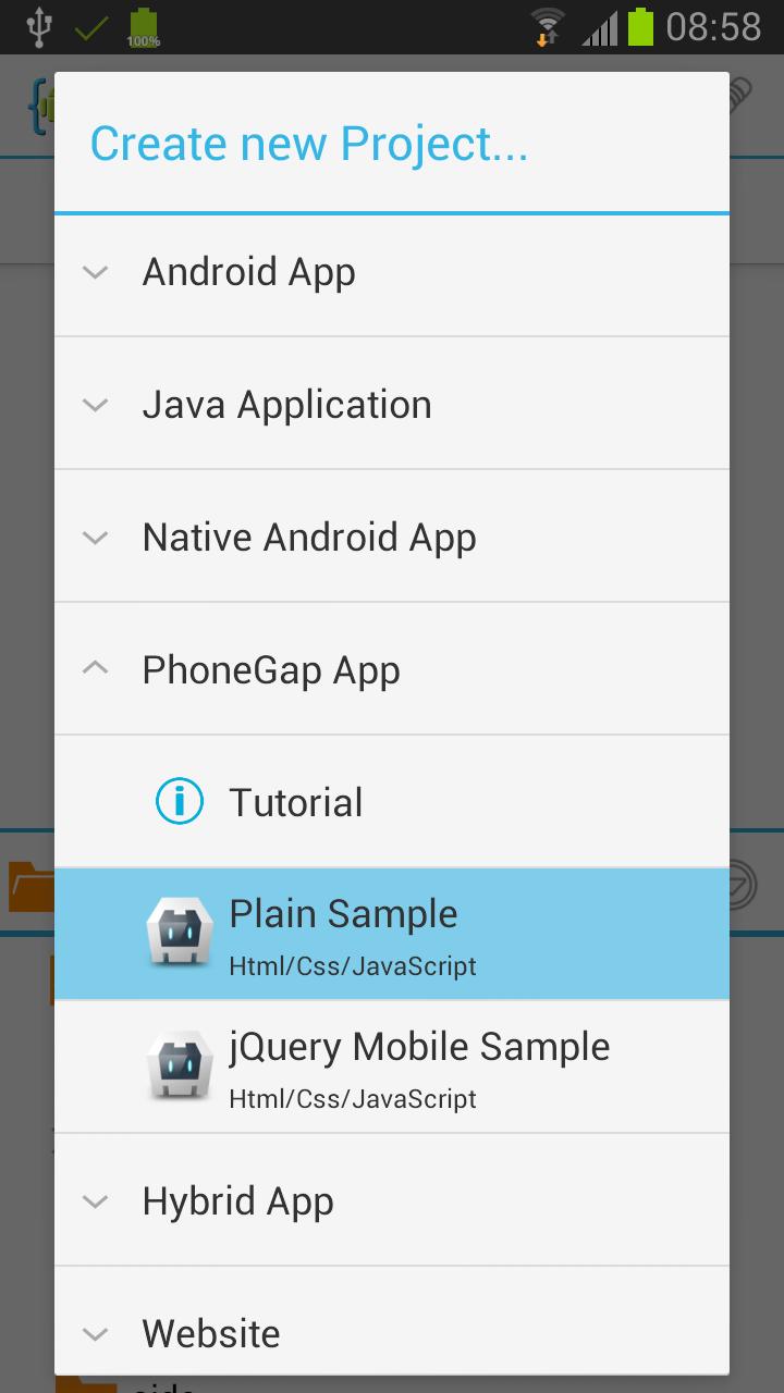 PhoneGap App tutorial | AIDE - Android IDE